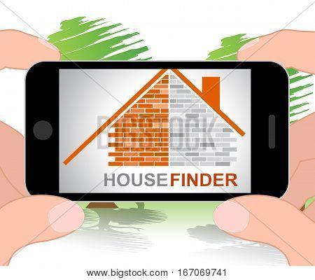 House Finder Shows Finders Home 3D Illustration