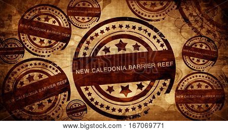 New caledonia barrier reef, vintage stamp on paper background
