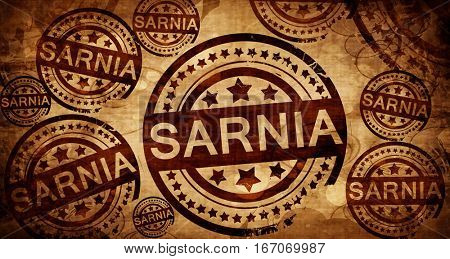 Sarnia, vintage stamp on paper background
