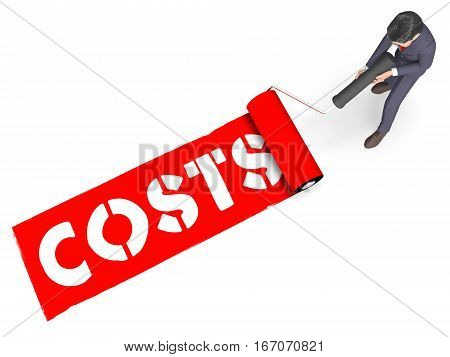 Costs Paint Indicates Paying Expenses 3D Rendering