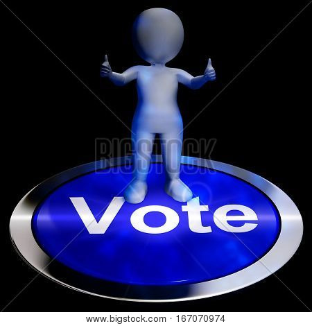 Vote Button Showing Options Voting 3D Rendering