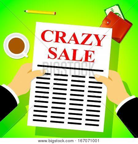 Crazy Sale Means Retail Clearance 3D Illustration