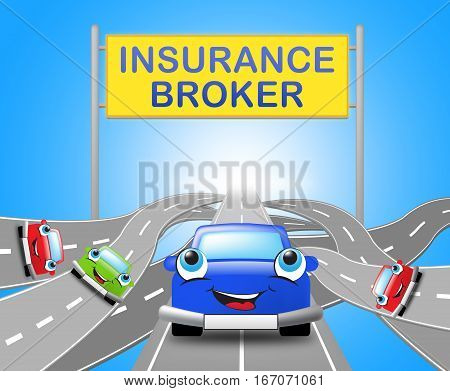 Auto Insurance Broker Shows Car Policy 3D Illustration
