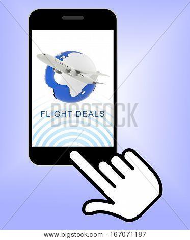 Flight Deals Representing Airplane Sale 3D Rendering