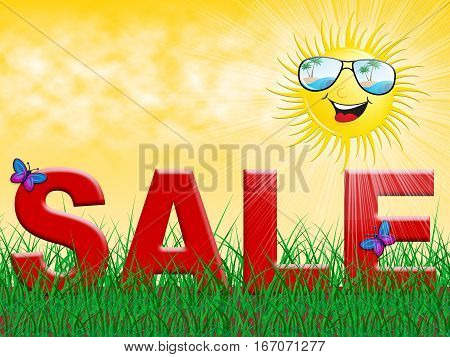 Sale And Sun Showing Summer Bargains 3D Illustration