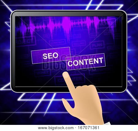 Seo Content Means Search Engine 3D Illustration