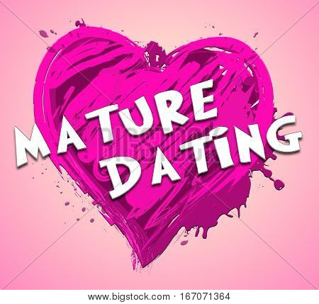 Mature Dating Represents Sweethearts Relationship 3D Illustration