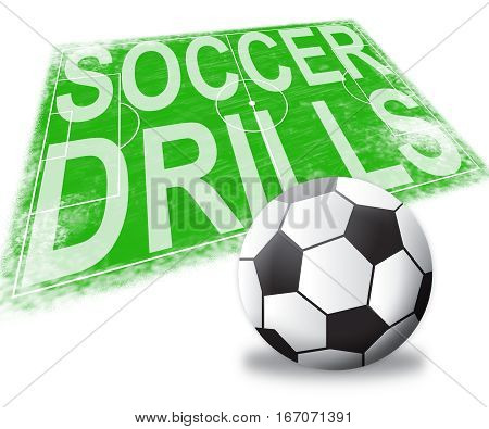 Soccer Drills Shows Football Practise 3D Illustration
