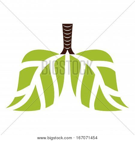 Green lungs branches with leaves image, vector illustration