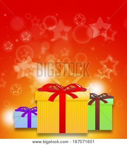 Red Giftboxes Shows Celebration Present 3D Illustration