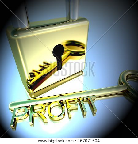 Padlock With Profit Key Showing Growth Earnings 3D Rendering