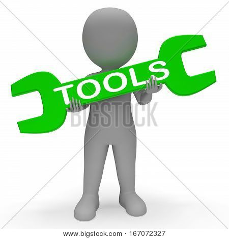 Tools Spanner Indicates Mend Repairs 3D Rendering