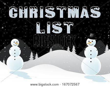 Christmas List Shows Xmas Wishlist 3D Illustration