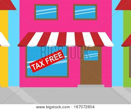 Tax Free Sign Shows Goods No Taxes 3D Illustration