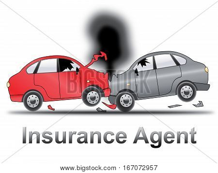 Auto Insurance Agent Shows Car Policy 3D Illustration