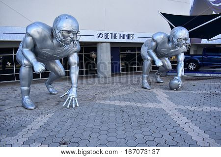 Tampa, Florida - Usa - January 07, 2017: Football Playoff Sculptures In Tampa