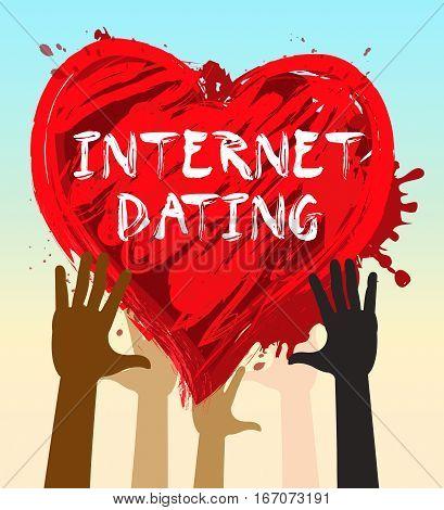 Internet Dating Represents Find Love 3D Illustration