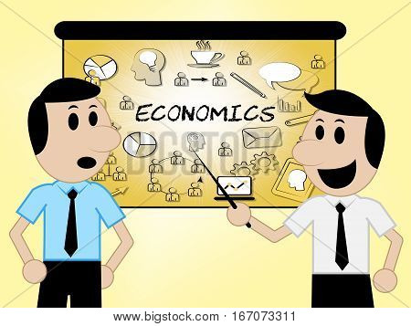 Economics Icons Shows Fiscal Economizing 3D Illustration