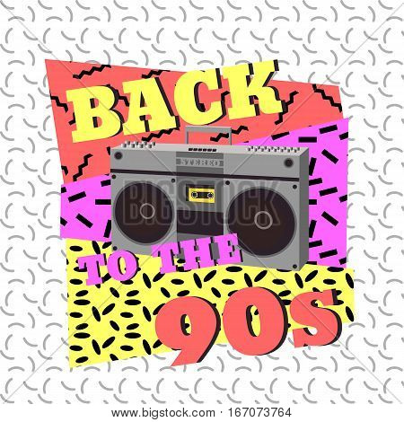 Back to the 90s. Tape recorder geometric elements. Vector illustration in memphis style.