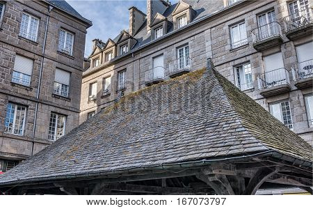 Old tile roof and stone buildings in Saint-Malo, Bretagne France