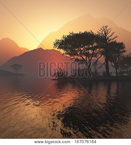 3d illustration morning landscape with sun rising and reflection in water