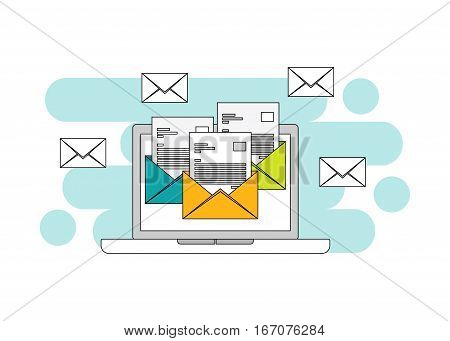 Email symbol E-mail line flat design of web banner, web element, or infographic