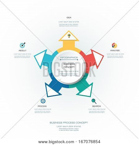 Vector Infographic 3D circle label design template with arrows sign and 5 options or steps. Infographics for business presentations or information banner process diagram flow chart graph scheme
