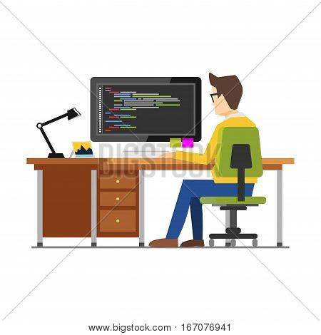 Programmer workspace. Programming. Development. Person working on computer. Work place concept.