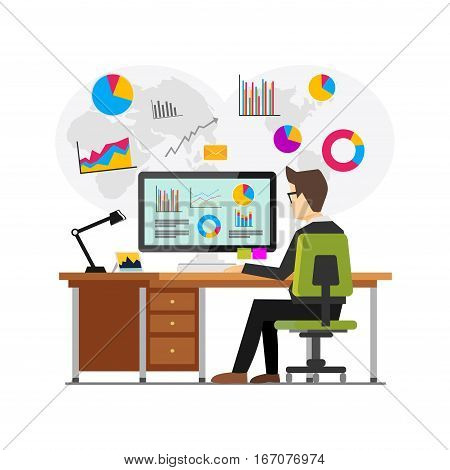 Businessman working and analyzing financial statistics. Data analysis concept.. Business intelligence technology. Business analysis concept for web banner web element or infographics