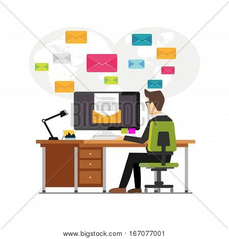 An office worker sending emails and communication with clients. Email marketing concept. Sending or receiving email concept illustration for web banner , web element , graphic element