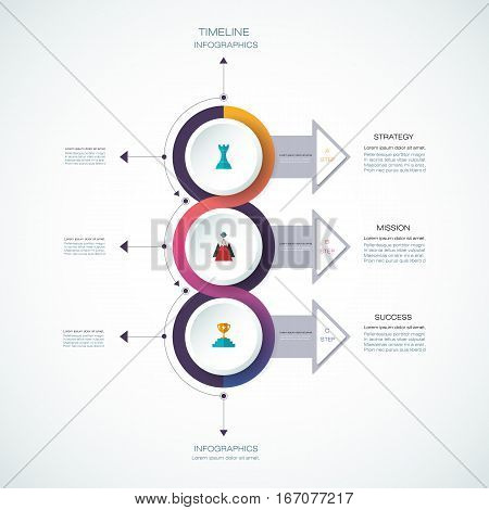 Vector infographics timeline design template with 3D paper label, integrated circles background. Blank space for content, business, infographic, diagram, digital, network, flowchart, process, time line