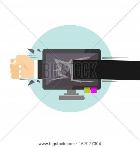Angry user punching monitor illustration. Concept of frustrated person. Hand person punching desktop screen.