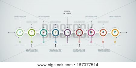 Vector infographics timeline design template with 3D paper label, integrated circles background. Blank space for content, business, infographic, diagram, digital network, flowchart process ,time line