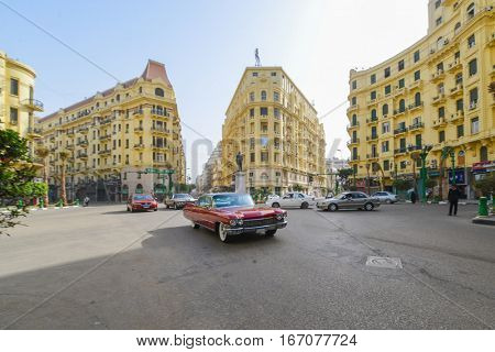 CAIRO, EGYPT - 20 FEBRUARY 2016: Famous Talaat Harb Square in downtown Cairo, Egypt