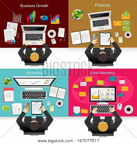 Business person working on computer. Business situation concept illustration for web banner, graphics element, or infographics