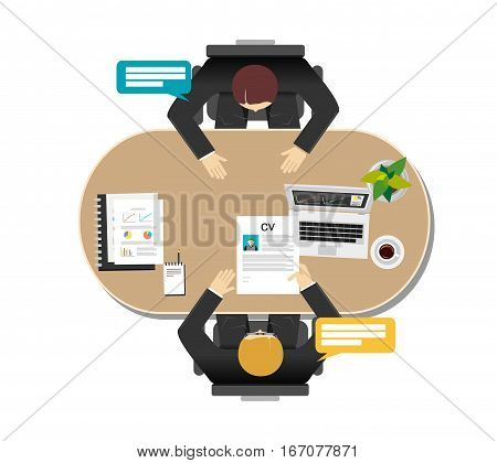 Employer interviewing a job seeker. Interview recruitment concept illustration.