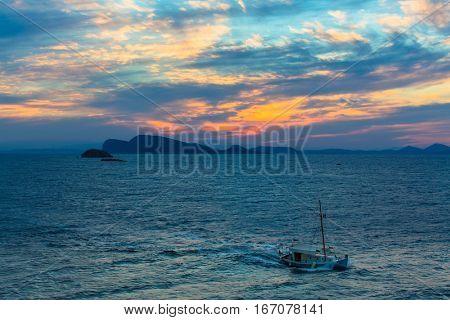 Aegean sea and the Greek Islands at dusk.
