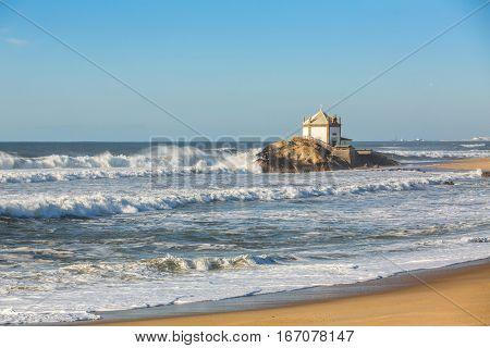 Chapel Senhor da Pedra at Miramar Beach, Vila Nova de Gaia, Portugal.