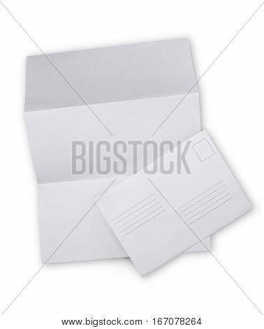 White Envelope With Folded Sheet For Correspondence