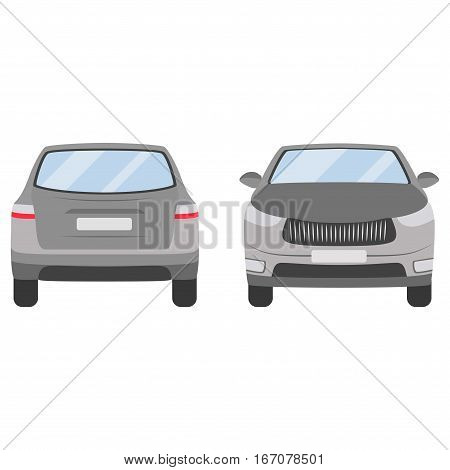 Car Vector Template On White Background. Hatchback Isolated. Flat Style, Business Design, Grey Silve
