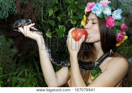 Young Girl With Apple And Snake