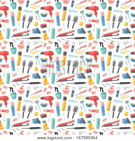 Hairdresser seamless pattern. Vector background with hairdressing tools. Vintage haircuts fashion equipment. Barbershop accessories silhouette styling hair stylist wallpaper.