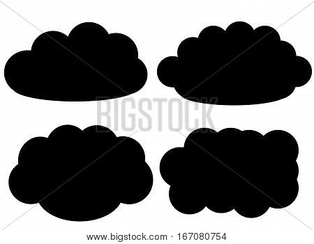 Black cloud vector icons isolated over white background cloud shapes vector illustration set. Weather forecast fluffy clouds drawing