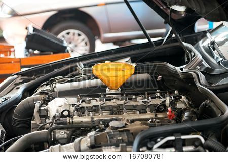 Car Engine With Funnel
