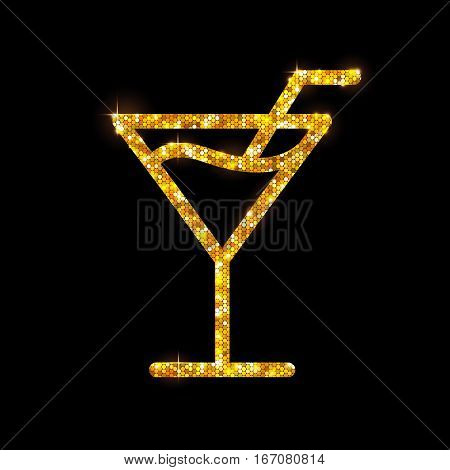 Vector illustration of golden cocktail flat icon design. Cosmopolitan