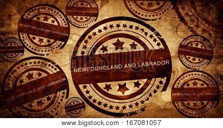 Newfoundland and labrador, vintage stamp on paper background
