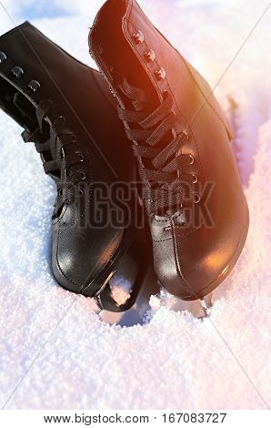 Ice Skates In The Snow