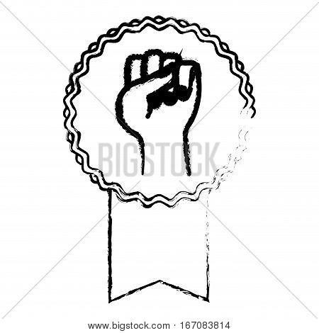 protest ribbon badge icon image sketch line vector illustration design