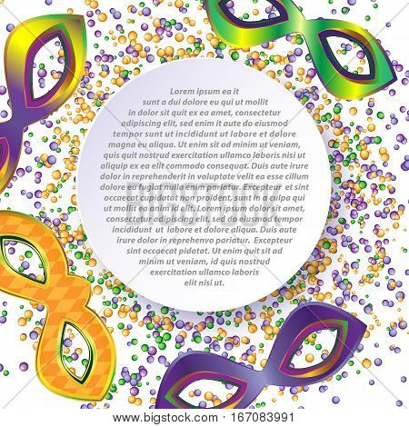 Colorful vector background with masks and beads on Mardi Gras.