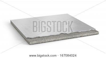 Piece of filler concrete floor. Flooring Installation. 3d illustration